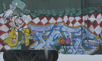 Alice in Wonderland Themed Freight Graffiti