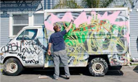 Dcypher Painting Graffiti On A Truck