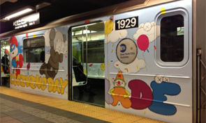 KAWS On New York Subway Cars