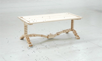 Wooden Table with Rolling Marbles
