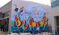 Rime Paints a Blade Mural on MOCA Wall