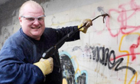 Toronto Mayor Rob Ford Buffs Graffiti